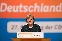 09 DEC 2014, KOELN/GERMANY:<br /> Angela Merkel, CDU, Bundeskanzlerin, haelt ihre Rede als Parteivorsitzende der CDU, CDU Bundesparteitag, Messe Koeln<br /> IMAGE: 20141209-01-043<br /> KEYWORDS: Party Congress