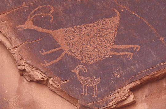 Arizona, Points of Interest Indian pictographs in Monument Valley.