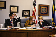 Democratic representatives Scott Kawasaki (left), Berta Gardner (middle) and House Minority Leader Beth Kerttula (right) in a Democratic caucus at the Alaska State Legislature.
