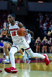 NORMAL, IL - October 23: Antonio Reeves breaks up court during a college basketball game between the ISU Redbirds and the Truman State Bulldogs on October 23 2019 at Redbird Arena in Normal, IL. (Photo by Alan Look)
