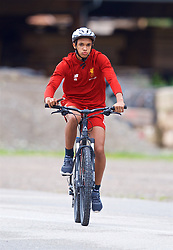 ROTTACH-EGERN, GERMANY - Friday, July 28, 2017: Liverpool's Trent Alexander-Arnold cycles to a training session at FC Rottach-Egern on day three of the preseason training camp in Germany. (Pic by David Rawcliffe/Propaganda)
