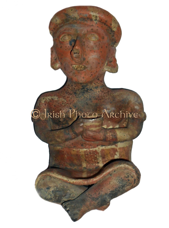 Clay figurine  used as a grave gift. Buried with the dead according to status to accompany the final journey. Clay, Nayarit Culture, Mexico, 100-900 AD