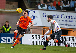 Dundee United's Lawrence Shankland and Partick Thistle's Thomas O'Ware. Dundee United 1 v 1 Partick Thistle, Scottish Championship game played 7/3/2020 at Dundee United's stadium Tannadice Park.