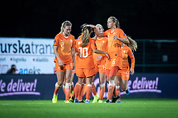 Players of Nederland celebrating third goal during football match between Slovenia and Nederland in qualifying Round of Woman's qualifying for EURO 2021, on October 5, 2019 in Mestni stadion Fazanerija, Murska Sobota, Slovenia. Photo by Blaž Weindorfer / Sportida