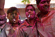 Young men covered in paint powder cheer and blow paper trumpets during the festival of Holi, in the city of Jaipur, Rajasthan, India