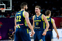 Ziga Dimec of Slovenia and Luka Doncic of Slovenia celebrate during basketball match between National Teams of Slovenia and Spain at Day 15 in Semifinal of the FIBA EuroBasket 2017 at Sinan Erdem Dome in Istanbul, Turkey on September 14, 2017. Photo by Vid Ponikvar / Sportida