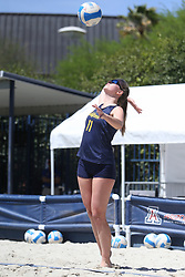 April 7, 2018 - Tucson, AZ, U.S. - TUCSON, AZ - APRIL 07: California Golden Bears Grace Campbell (11) serves hit the ball during a college beach volleyball match between the California Golden Bears and the Arizona Wildcats on April 07, 2018, at Bear Down Beach in Tucson, AZ. Arizona defeated California 3-2. (Photo by Jacob Snow/Icon Sportswire (Credit Image: © Jacob Snow/Icon SMI via ZUMA Press)