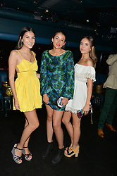 Left to right, LAUREN MILLS, CORA CORRE Vivienne Westwood's granddaughter and IZZY UTTERSON at a summer party hosted by Jo Wood & Yasmin Mills at Boujis, 43 Thurloe Street, London on 9th July 2014.
