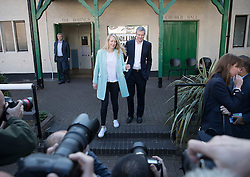 © Licensed to London News Pictures. 05/05/2016. London, UK.  Conservative candidate for London Mayor Zac Goldsmith stands with his wife Alice after casting his vote in his Richmond Park constituency. Voting is taking place today for the Scottish Parliament, the Welsh Assembly, the Northern Ireland Assembly, local council elections in England, Mayor of London and London Assembly, Police and crime commissioner and two Westminster by-elections. Photo credit: Peter Macdiarmid/LNP