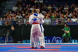 November 10, 2018 - Madrid, Madrid, Spain - Zaretska Irina (AZE) win the gold medal and win the tournament of Female Kumite -68 Kg during the Finals of Karate World Championship celebrates in Wizink Center, Madrid, Spain, on November 10th, 2018. (Credit Image: © AFP7 via ZUMA Wire)