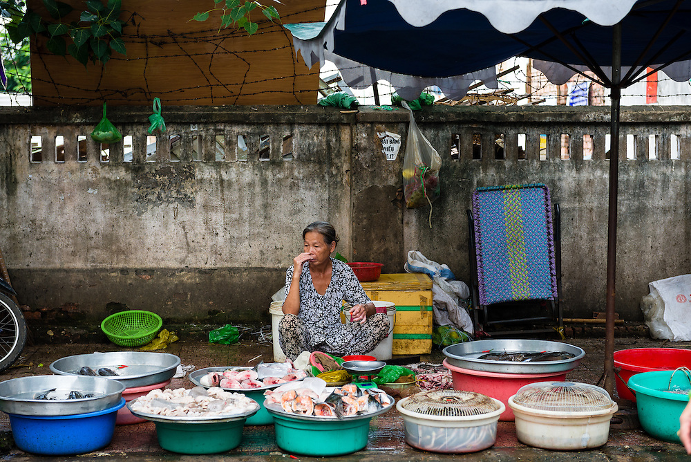 Fruit and vegetable stall at market in Saigon