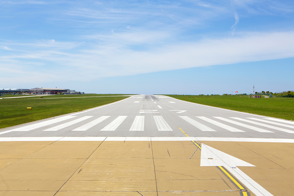 The runway at Jersey Airport on a summers day in the Channel Islands