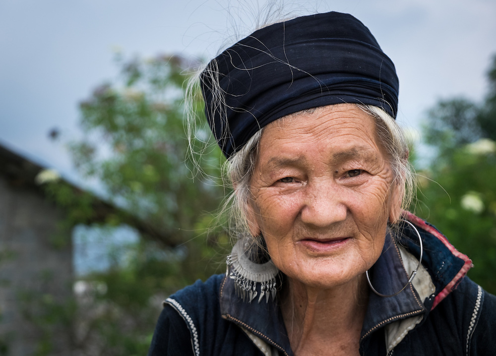 SAPA, VIETNAM - CIRCA SEPTEMBER 2014:  Portrait of woman from the Black Hmong minority in North Vietnam