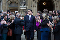 © licensed to London News Pictures. London, UK 19/11/2012. Labour party leader Ed Miliband  greeting new Labour MPs Andy Sawford, Lucy Powell and Stephen Doughty, outside the House of Commons following their by-election victories last week. Photo credit: Tolga Akmen/LNP