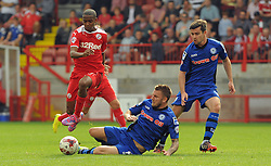 Crawley's Lewis Young carries the ball - photo mandatory by-line David Purday JMP- Tel: Mobile 07966 386802 - 06/09/14 - Crawley Town v Rochdale - SPORT - FOOTBALL - Sky Bet Leauge 1 - London - Checkatrade.com Stadium