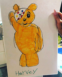 """Katie Price releases a photo on Instagram with the following caption: """"Harvey is so clever. How cute he just made this for me. We are supporting children in need. Are you? \ud83d\udc9b\ud83d\udc9b\ud83d\udc9b\ud83d\udc9b"""". Photo Credit: Instagram *** No USA Distribution *** For Editorial Use Only *** Not to be Published in Books or Photo Books ***  Please note: Fees charged by the agency are for the agency's services only, and do not, nor are they intended to, convey to the user any ownership of Copyright or License in the material. The agency does not claim any ownership including but not limited to Copyright or License in the attached material. By publishing this material you expressly agree to indemnify and to hold the agency and its directors, shareholders and employees harmless from any loss, claims, damages, demands, expenses (including legal fees), or any causes of action or allegation against the agency arising out of or connected in any way with publication of the material."""