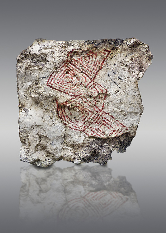Geometric wall painting fragment found in 1999 in building 2, space 117, level IX. Unit no 4223X1. Catalhoyuk collection, Konya Archaeological Museum, Turkey. Against a gray background .<br /> <br /> (updated 2021) Add photos of Catalhoyuk Antiquities using ADD TO CART button as royalty free download or prints or download from our ALAMY STOCK LIBRARY page at https://www.alamy.com/portfolio/paul-williams-funkystock - Scroll down and type -  Catalhoyuk  - into LOWER search box. (TIP - Refine search by adding a background colour as well).<br /> <br /> Visit our PREHISTORIC PLACES PHOTO COLLECTIONS for more  photos to download or buy as prints https://funkystock.photoshelter.com/gallery-collection/Prehistoric-Neolithic-Sites-Art-Artefacts-Pictures-Photos/C0000tfxw63zrUT4