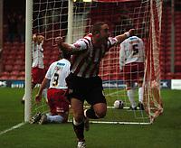 Photo: Tony Oudot.<br /> Brentford v Lincoln City. Coca Cola League 2. 27/10/2007.<br /> Sammy Moore of Brentford celebrates his winning goal