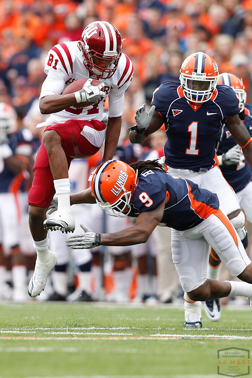 23 October 2010: Indiana Hoosiers safety Andrew Pimentel (18)  as the University of Illinois Illini played the Indiana Hoosiers in a college football game in Champaign, Ill.
