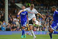 Fulham FC midfielder Tom Cairney (10) takes a shot at goal during the EFL Sky Bet Championship match between Fulham and Cardiff City at Craven Cottage, London, England on 20 August 2016. Photo by Jon Bromley.