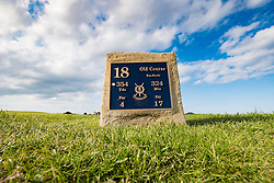 Tee box on 18th hole , Tom Morris, at Old Course of St Andrews in Fife Scotland, united Kingdom