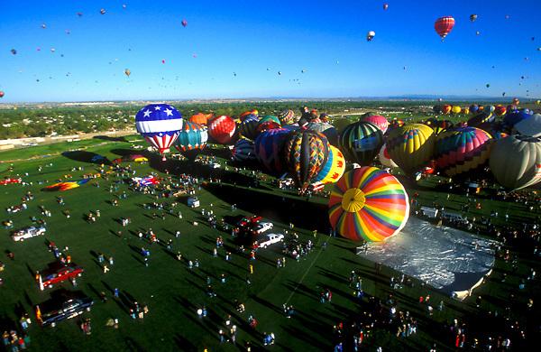 Stock photo of an aerial view of hot air balloons at the Albuquerque International Balloon Fiesta