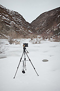 "Matthieu Paley's video camera. From Langar to Zan Kuk (""woman's spring"")...Trekking back down from the Little Pamir, with yak caravan, over the frozen Wakhan river."