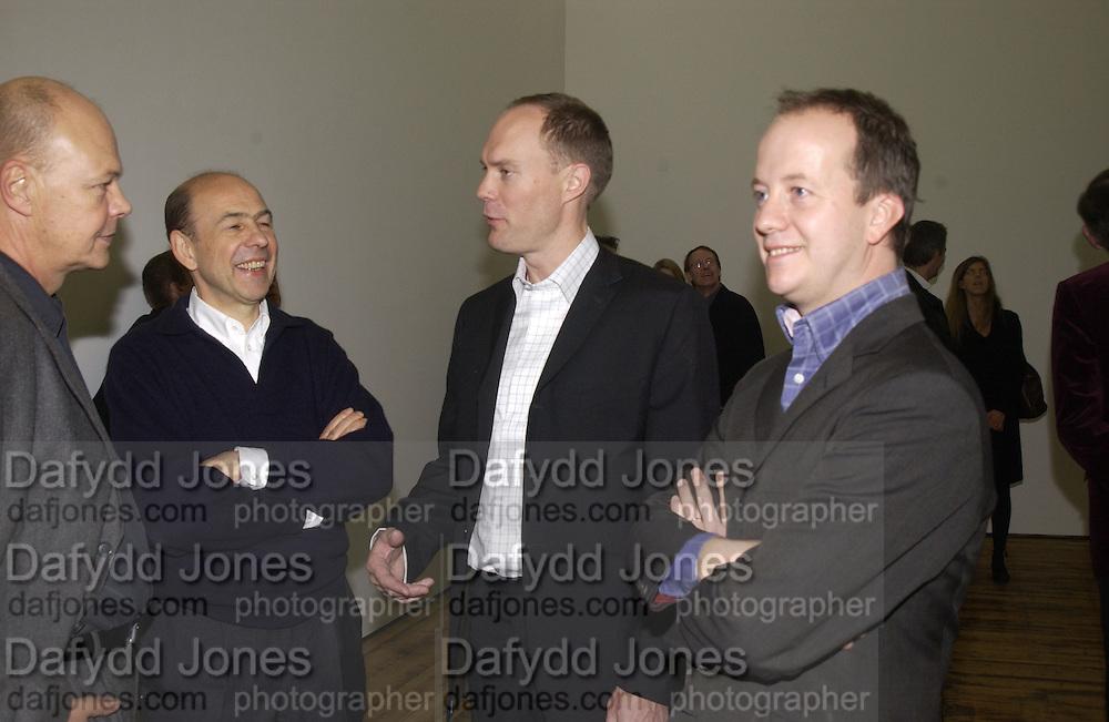 Nicholas Logsdail, Harry Blai,  Anthony D'Offay annd Graham Southern. Rachel Whiteread, Haunch of Venison opening party. 28 October 2002. © Copyright Photograph by Dafydd Jones 66 Stockwell Park Rd. London SW9 0DA Tel 020 7733 0108 www.dafjones.com