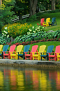 Muskoka chairs at Clevelands House Resort, Minett, Ontario, Canada