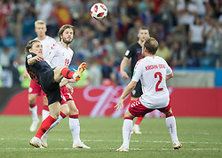 July 1, 2018 - Nizhny Novgorod, Russia - Luka Modric of Croatia vies Lasse Schone and Michael Krohn-Dehli of Denmark during the 2018 FIFA World Cup Russia Round of 16 match between Croatia and Denmark at Nizhny Novgorod Stadium on July 1, 2018 in Nizhny Novgorod, Russia. (Credit Image: © Foto Olimpik/NurPhoto via ZUMA Press)