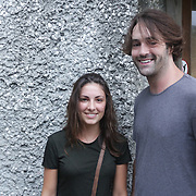 Sadie Smith, left, and Spencer Jones pose for a photo Thursday August 7, 2014 during The Shrip-A-Roo at Buddy's Crab House & Oyster Bar in Wrightsville Beach, N.C.  (Jason A. Frizzelle)