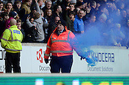 Preston fans celebrate goal by releasing a flare during the Sky Bet Championship match between Wolverhampton Wanderers and Preston North End at Molineux, Wolverhampton, England on 13 February 2016. Photo by Alan Franklin.