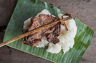 Laos street food sticky rice and pork chops, Savannakhet, Laos, Southeast Asia