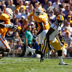 Oct 2, 2010; Baton Rouge, LA, USA; LSU Tigers cornerback Patrick Peterson (7) pursues a play against the Tennessee Volunteers during the first half at Tiger Stadium.  Mandatory Credit: Derick E. Hingle