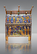 Gothic chest decorated with the Resurection of Christ from Limoges Circa 1220. Engraved copper with inlaid enamel  enamel champlevé and glass on wooden core. National Museum of Catalan Art, Barcelona, Spain, inv no: MNAC 65530