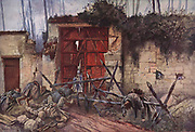 First World War battlefield scene, 1918.   A gate into the park of the chateau of Plessis-de-Roye.  Defenders have made gun ports in the wall and the gate and have mown down the attacking infantry with lethal gunfire.    After the painting by Francois Fla