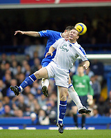 12/5/2004 - Chelsea v  Everton , Stamford Bridge - FA Barclays Premiership.<br />Chelsea's John terry (hidden) and Everton's Steve Watson both go for thehigh header<br />Photo:Jed Leicester/Back Page Images