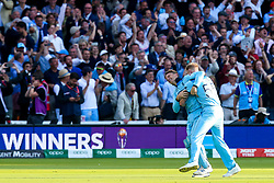 Ben Stokes of England and Jos Buttler of England celebrate celebrate beating New Zealand in the World Cup Final after a Super Over - Mandatory by-line: Robbie Stephenson/JMP - 14/07/2019 - CRICKET - Lords - London, England - England v New Zealand - ICC Cricket World Cup 2019 - Final