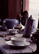 Historic cookware from mining camps on display at the Keno City Mining Museum, Silver Trail, Yukon Territory, Canada.