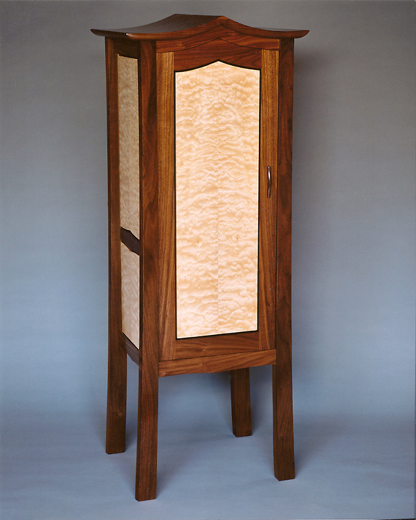 linen cabinet<br /> walnut, ebony and quilted maple<br /> this piece of custom furniture resides in East Berne, NY