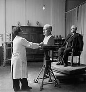 Jussuf Abbo in his studio with Labour leader George Lansbury, late 1930s