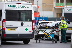 © Licensed to London News Pictures.30/12/2020, London, UK. A patient arrives at The Royal London Hospital in Whitechapel, east London as the number of coronavirus cases surge due the new variant that considerably more transmissible than previous strains in London.  Photo credit: Marcin Nowak/LNP