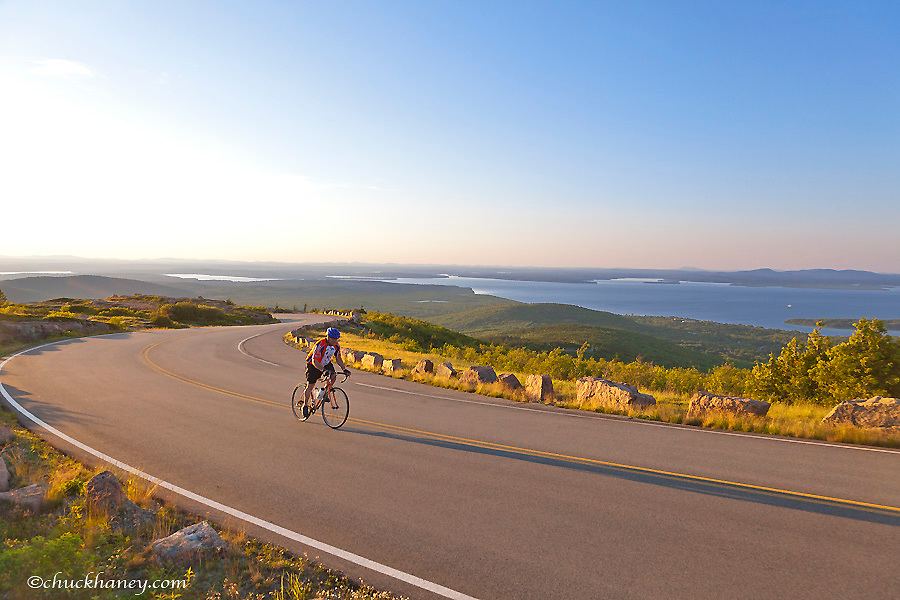 Road bicycling up Cadillac Mountain in Acadia National Park, Maine USA  model released