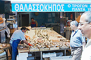 On a street market. Fish market. Thessaloniki, Macedonia, Greece