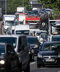 © Licensed to London News Pictures. 19/05/2020. London, UK. Traffic builds up on the A40 Westway heading in to London at rush hour, during lockdown. Government has announced a series of measures to slowly ease lockdown, which was introduced to fight the spread of the COVID-19 strain of coronavirus. Photo credit: Ben Cawthra/LNP