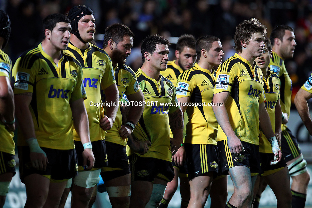 Hurricanes players dejected. Super Rugby rugby union match, Chiefs v Hurricanes at Waikato Stadium, Hamilton, New Zealand. Saturday 28th April 2012. Photo: Anthony Au-Yeung / photosport.co.nz