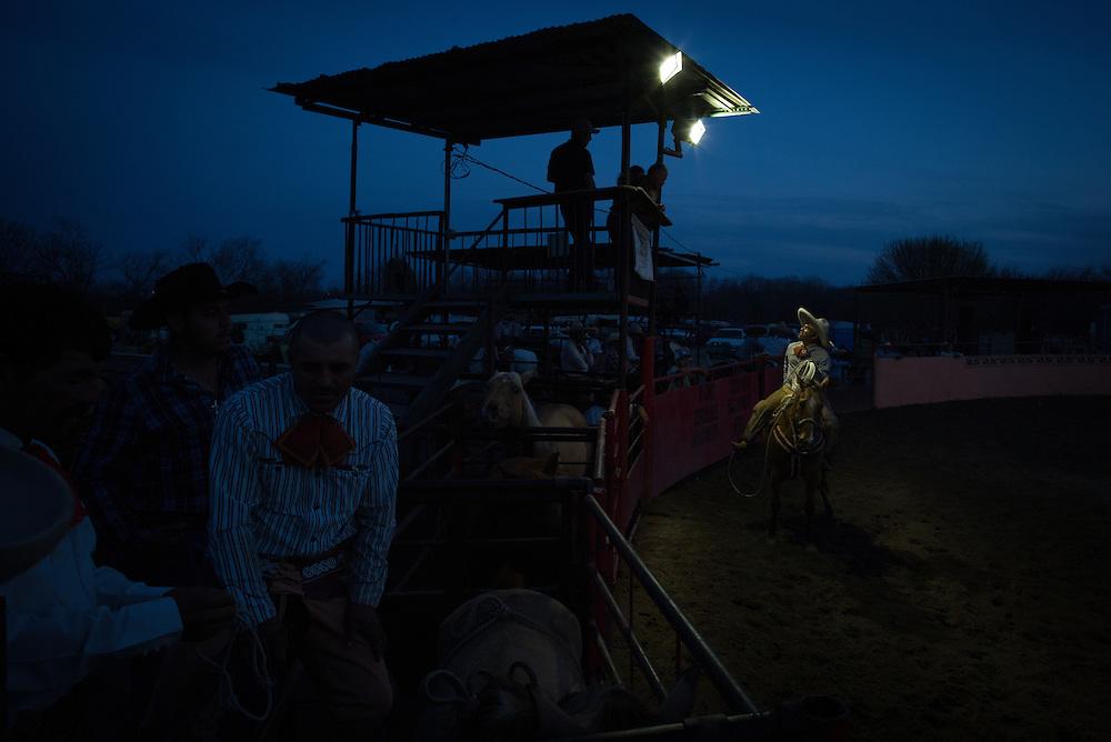 VON ORMY, TX - FEBRUARY 23: Charreada at Lienzo El Bajio in Von Ormy, Texas on February 23, 2014. (Photograph ©2014 Darren Carroll)