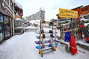 Tignes, France, Ski resort. Ski rental shop