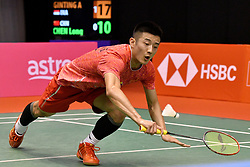 Jan. 17, 2018 - Kuala Lumpur, Malaysia - CHEN LONG of China competes during the men's singles match against Indonesia's Anthony Sinisuka at Malaysia Masters 2018 in Kuala Lumpur, Malaysia. Long lost 0-2. (Credit Image: © Chong Voon Chung/Xinhua via ZUMA Wire)