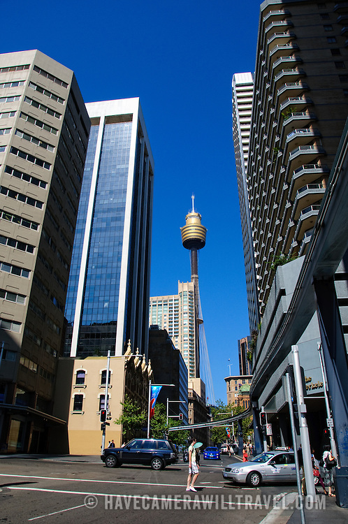 Street of Sydney's Central Business Distict with Centrepoint Tower in the center